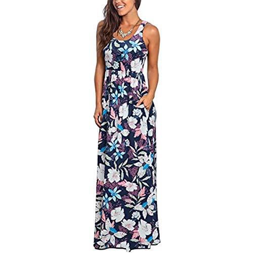 Tavorpt Spring Dress for Women 2021 Casual, Summer Maxi Dresses for Women, Crew Neck Short Sleeve Dress Floral Printed Long