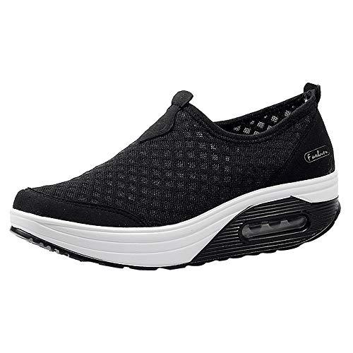 Zapatos para Mujer Cuña Cómodos, Tefamore Zapatillas Sneaker Calzado Deportivo De Exterior de Mujer Zapatilla de Deporte Mujer Plataforma Calzo Aptitud para Caminar Zapatos