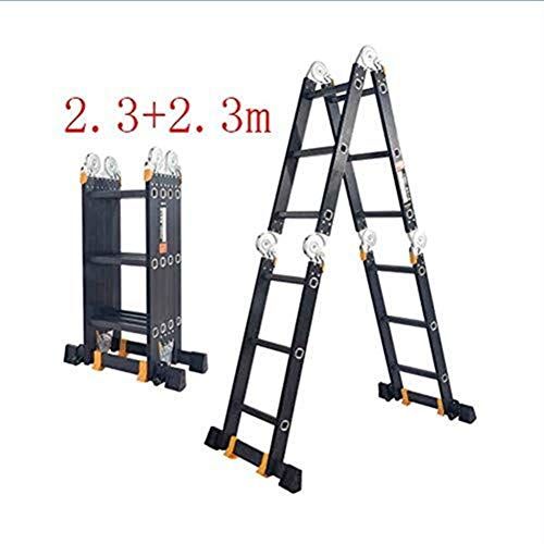CKQ-KQ Multifunctionele Ladder, Huishoudelijke Folding Ladder Indoor Herringbone Ladder, Portable Aluminium telescopische Techniek Ladder (Color : 2.3+2.3m)