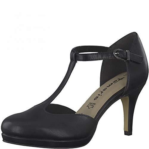 Tamaris Damen Riemchen Pumps, Frauen Pumps,Touch It-Fußbett,Lady,Ladies,Women's,Woman,Court,Shoes,Absatzschuhe,Office,Black MATT,40 EU / 6.5 UK
