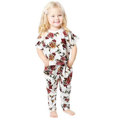 BeautyTop Babykleidung Kinder Blumendruck Hausservice Outfits Set Baby Mädchen Kurzarm Geblümtes Kinderhemd + Hose Zweiteiliges Toddler Kinder Schlafanzug-Set