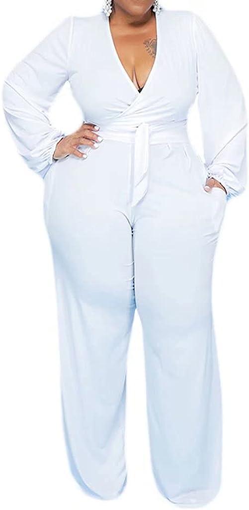 Ekaliy Women's Two Piece Suit Plus Size Clothes Puff Sleeves V Neck Solid Color Lace Up Breathable Plus Size Suit