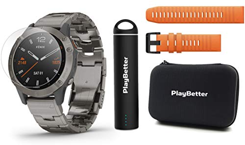 Garmin Fenix 6 Sapphire (Titanium with Titanium Band) Power Bundle | Extra Quickfit Band, HD Screen Protectors, PlayBetter Portable Charger & Hard Case | PulseOx, ClimbPro, PacePro, Spotify