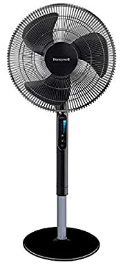"""Honeywell Advanced QuietSet 16"""" Stand Fan With Noise Reduction Technology & Remote Control-Black, 18.8 x 58.8 x 55 cm"""