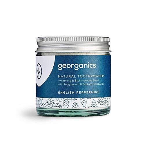 Georganics | Natural + Vegan Toothpowder, Whitening + Stain-Removing Formula, English Peppermint, 60ml