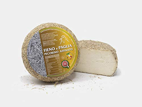 Pecorino Affinato in Fieno e Paglia | forma a metà sottovuoto da 0,6 kg | formaggio artigianale toscano | Salumificio Artigianale Gombitelli - Toscana