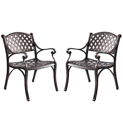 Kinger Home Patio Outdoor Dining Metal Chairs, Set of 2, Cast Aluminum, Lattice Weave Design - Antique Brown
