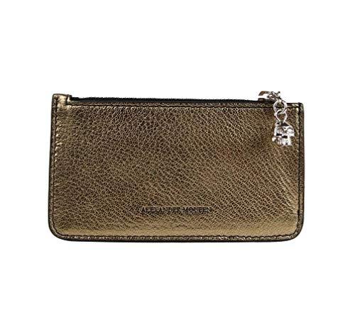 Alexander McQueen Women's Gold Metallic Grain Leather Card Wallet Holder 501022 7048