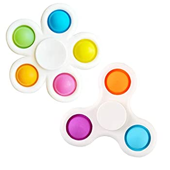 shuang qing Simple Dimple Fidget Spinner Toys,Rotatable Push pop Bubble Fidget Sensory Toys,Silicone Sensory Toys to Stress Relief and Anti-Anxiety for Children and Adults  Three Leaves+Five Leaves