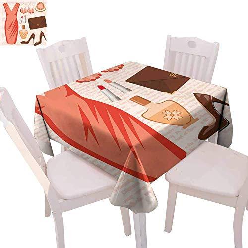 Absätze und Kleider Quadratische Tischdecke Mehrfarbige Accessoires Mode Cocktailkleid Lippenstift Ohrringe High Heels Drapability , Lachsbrauner Pfirsich