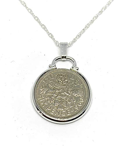 Cinch Pendant 1960 Lucky sixpence 60th birthday gifts for women Sterling Silver 18in Chain