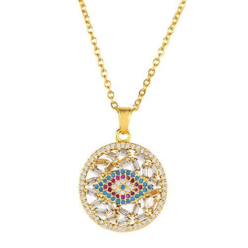 IJEWALRY Collar Colgante Plata para Mujer, Flola Cubic Zirconia Mal De Ojo Collar Oro para Mujer Ojo Turco Cz Collar Rainbow Zircon Cobre Largo Collares D Ojito Nkep61