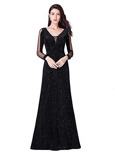 Ever-Pretty Damen Abendkleid Festliches Kleid Meerjungfrau Tüll Samt Schwarz 58