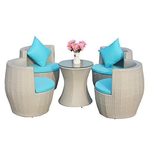 Mesa de mimbre silla de terraza y muebles combinación, silla del patio al aire libre con 4 sillas tapizadas y mesa de café, muebles de exterior adecuados for el patio trasero del jardín de chat césped