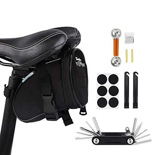 WOTOW Fahrrad-Rahmentasche für das Smartphone, vorderer Stangenbereich, Oben, Mountainbike/Rennrad, Doppel-Tasche mit Touchscreen-Funktionalität (14 in 1 Multifunktionswer kzeug)