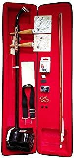 WuYue Chinese 2 Strings Traditional National Instruments Ergonomic Flat Neck Erhu Engraved with Dragon Phoneme Mark for Entry Level Case