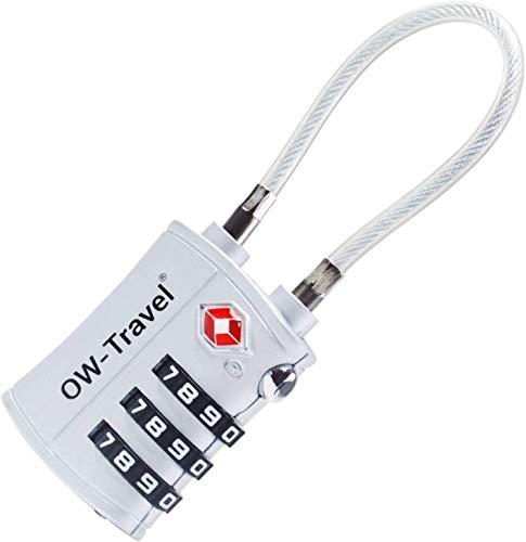 OW-Travel Candado Combinacion Cable Acero Flexible Anti robo. Candado maleta TSA numerico 3 Digitos. Candados mochila y maletas. TSA candado Taquilla Gimnasio. Candado seguridad equipaje Plata 1