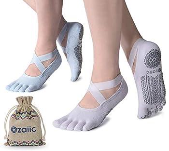 Ozaiic Yoga Socks for Women with Grips Non-Slip Five Toe Socks for Pilates Barre Ballet Fitness