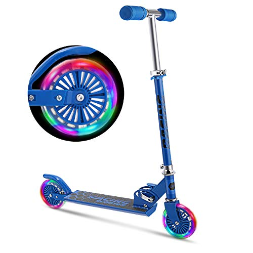 WeSkate Scooter for Kids with LED Light Up Wheels, Adjustable Height Kick Scooters for Boys and Girls, Rear Fender Break|5lb Lightweight Folding Kids Scooter, 110lb Weight Capacity (Blue)