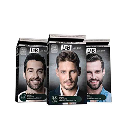 Luis Bien Permanente Haarkleur 100% Grijze Kleurstof Alleen Voor Mannen En Vrouwen (Zwarte)
