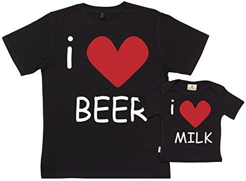 Spoilt Rotten Spoilt Rotten SR - Exklusive Geschenkbox - I Love Beer & Milk 100% Biobaumwolle - Vater Sohn Geschenkset in Geschenkbox - S, 0-6 Monate - Schwarz