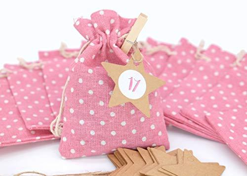24 sacchettini di stoffa rosa 2 Calendario dell'Avvento 10 x 14 cm ghirlanda ciondolo stella adesivo graffette