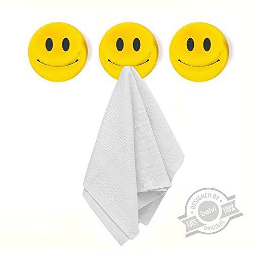 balvi Küchentuchhalter Smile Set bestehend aus 3 Haltern Selbstklebend 3M Form eines Emoticons Kunststoff