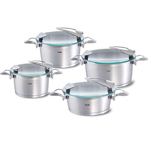 Fissler solea / Edelstahl-Topfset, 4-teilig, Induktions-Kochtopfset, Töpfe mit Glasdeckel, stapelbar, alle Herdarten auch Induktion (3 Kochtöpfe, 1 Bratentopf)