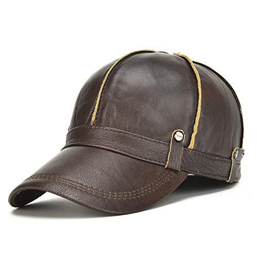 No-branded HOUJHUS Mens Cowhide Leather Peaked Cap Winter Warm Adjustable Elder Earmuffs Baseball Cap (Color : Dark brown, Size : One Size)