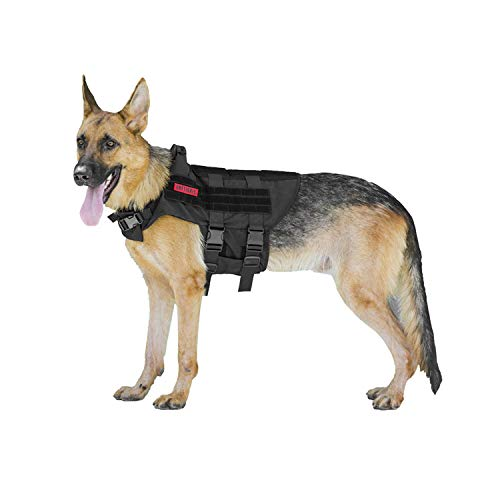 OneTigris K9 Tactical Dog Harness Patrol Dog Vest with Comfortable Adjustable Neck Protection Straps & Durable Handle (Black, Large)