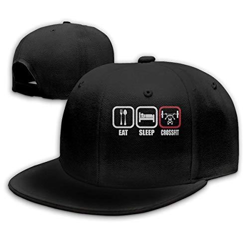 Unisex Baseball Gorra, Eat Sleep Crossfit Hip Hop Hats Adjustable Snapback Gorra Solid Flat Bottom Hat for Men
