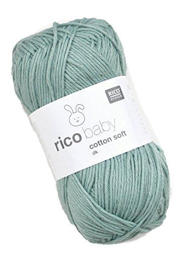 Rico Baby Cotton Soft dk Fb. 050 Salbei, weiche Babywolle grün, Baumwollmischgarn zum Stricken & Häkeln