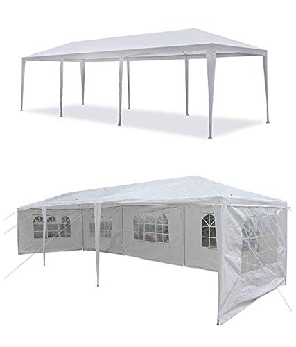 MCombo Canopy Party Outdoor Gazebo 7 Removable Walls Wedding Tent, White, 10' x 30'