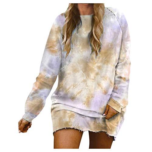 GreatestPAK Lange Sweatshirt Damen New Langarm Slim-Fit Pullover Tie-Dye Minikleid Batikkleid Bluse,Gelb,L