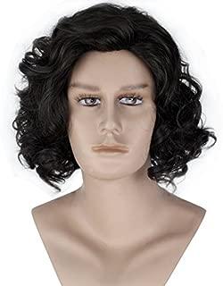 Miss U Hair Unisex Men Adult Short Curly Natural Black Color Cosplay Costume Full Wig Halloween Hair