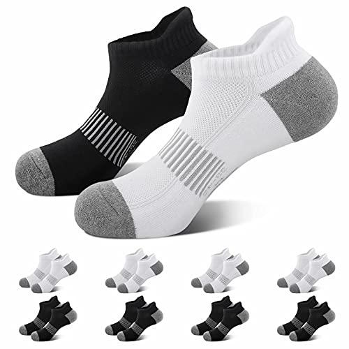 Falechay Socken Herren Sneaker Sportsocken 39-42 Laufsocken Damen Baumwolle Gepolsterte Schwarz Weiß Grau Atmungsaktiv Kurz Socken Schwarz Weiß 39-42