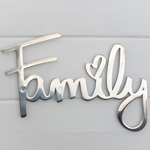 """Way Of Hearts Metal Family Sign – Wall Decor For Living Room Decorations – Aesthetic Bedroom Wall Art Silver Home Decor, 8.7"""" x 6.3"""" x 0.1"""""""