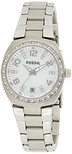 Fossil Serena - Reloj de cuarzo para mujer, acero inoxidable, tres manos, color plateado Glitz (modelo: AM4141)