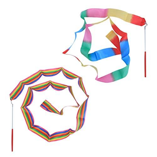LIOOBO 2 Unids 2 m Cintas de Gimnasia Bailando Bastones de Gimnasia Cintas rítmicas con Varita artística Gimnasia artística Ballet Barra de Giro Palo para niños
