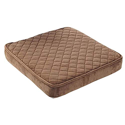 QSCV Thicken Warm Chair Cushions,Office Student Sponge Floor Pillow,Not-Slip Detachable Seat Chair Pad Indoor Outdoor-Coffee 50x50x8cm