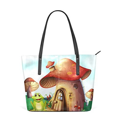 XGBags Custom Borsa a tracolla in pelle PU da donna Frog Mushroom Horse Womens Purse PU Leather Shoulder Tote Bag