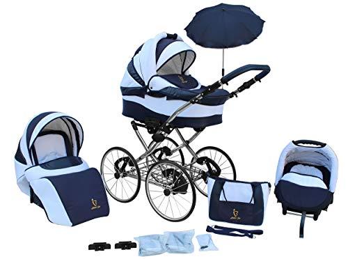 Lux4kids cochecito retro de 17'neumáticos, ruedas de radios, antipinchazos con parasol Classico Blue 01 3en1 con asiento