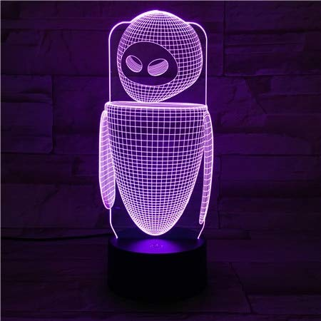 hqhqhq Robot Eva Table Lamp Bedroom EVE Decoration Cartoon RGB Touch Sensor Children Kids Gadget Gift Wall E Night Light LED USB Decor-1314