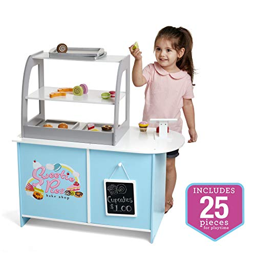 Wooden Bakery Playset Pretend Stand for Kids - 25 Piece Bake Shop Counter w Food, Chalkboard, Cash Register, Trays - Durable Construction for Creative Playtime