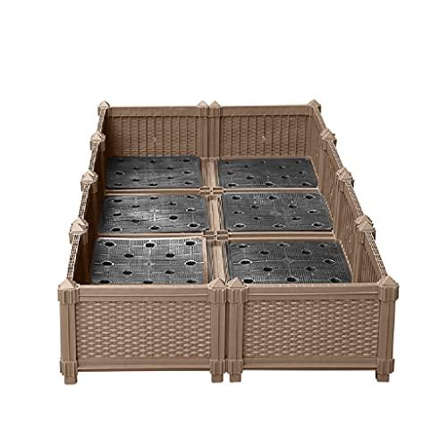 BBGS Profundizado Kits de Cama Elevada para Jardín, 2 Filas Envases de Plástico Ensanchados para Plantas Bajo Techo, en Exteriores Verduras Hierbas Flores Creciendo Macetero (Size : 140x70x24cm)