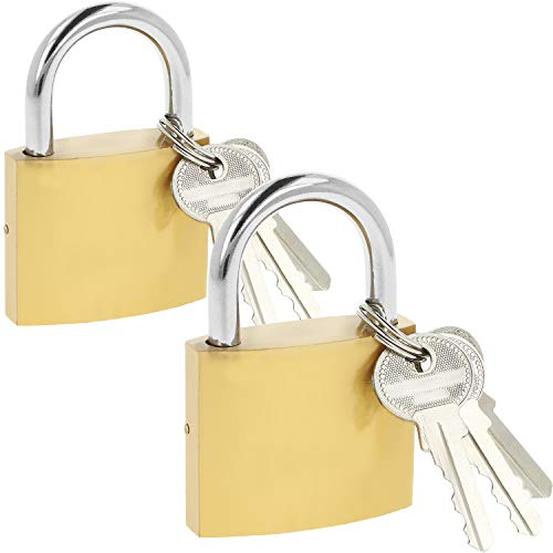 COM-FOUR® 2x hangslot van massief metaal - veiligheidsslot met 3 sleutels - hangslot met geharde sluiting (02 stuks - 50 mm V2)