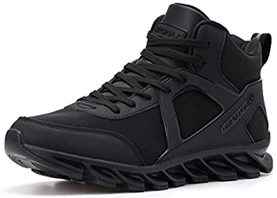 BRONAX All Black Basketball Shoes for Mens with Ankle Support Leather Performance Fashion Sports Athletic Tennis Training Stylish High Mid Top Sneakers for Young Mens Size 9.5