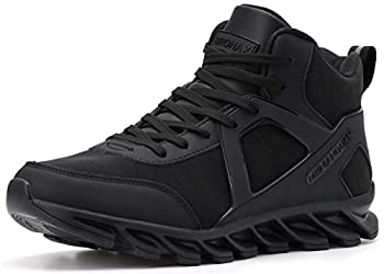 BRONAX High Top Sneakers for Men Classic Leather Waterproof Lace Up Slip Resistant Hightop Workout Walking Wrestling Training Shoes for Youth Boys Basketball Sneakers All Black Size 11