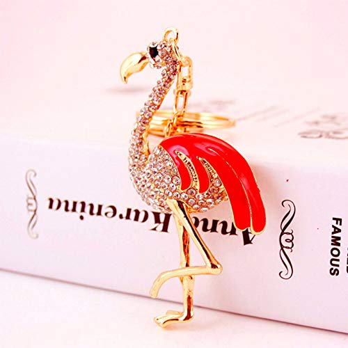 Ifingerring Girl Key Chain, Chinese Ethnic Dripping Oil Crafts Crane Keychain Animal Metal Light Red Enamel Key Ring Pendant, Fashion Accessory Couple Friend Lover Girl Festival Gift