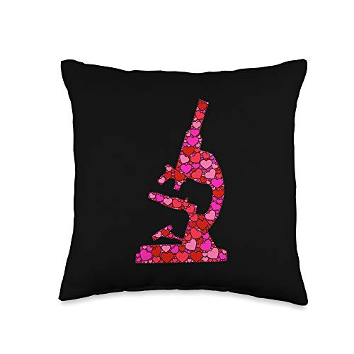 Valentine's Day Funny Microscope Gifts Pink Red Heart Valentines Day Gift Women Men - Microscope Throw Pillow, 16x16, Multicolor